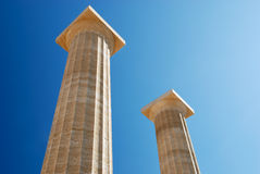 Ancient columns with doric order. (Greece royalty free stock image