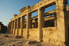 Ancient columns Hierapolis. Ancient columns in Pamukkale, Hierapolis, Turkey Royalty Free Stock Image