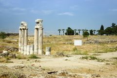Ancient columns in Hierapolis city closeup,Turkey. Royalty Free Stock Photography