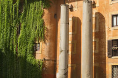Ancient columns and house in Rome Stock Photos