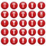 Ancient columns icons set vetor red. Ancient columns icons set. Simple illustration of 25 ancient columns vector icons red isolated Stock Photography