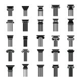 Ancient columns icons set, simple style. Ancient columns icons set. Simple illustration of 25 ancient columns vector icons for web Royalty Free Stock Photography