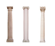 Ancient columns of Ionic, Doric and Corinthian ordo are isolated royalty free stock photo