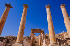 Ancient columns in Jerash Stock Photo