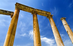 Ancient columns in Jerash, Jordan. Ancient columns in the main street of roman city Jerash, Jordan Stock Photography
