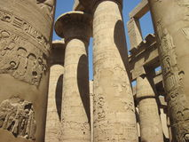 Ancient Columns at Karnak Temple in Egypt. Ancient columns at Karnak Temple in Thebes (Modern Luxor), Egypt royalty free stock photos