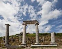 Ancient Columns Lining Main Road at Perga in Turkey Royalty Free Stock Image