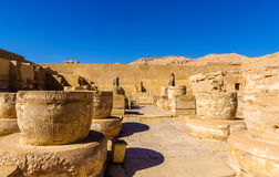 Ancient columns in the Medinet Habu Temple Stock Images