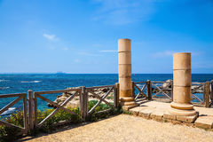 Ancient columns on Mediterranean coast Royalty Free Stock Images