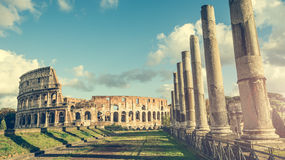Ancient Columns Near The Coliseum Royalty Free Stock Images