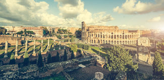 Ancient Columns Near The Coliseum Royalty Free Stock Photo