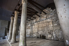 Ancient Columns of Old Cargo Street in Jerusalem Stock Photography