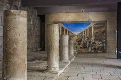 Ancient Columns of Old Market Street in Jerusalem Stock Image