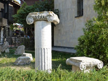 Ancient columns in the old town Stock Image
