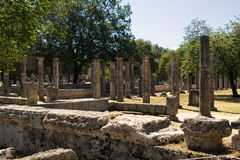Ancient columns  in Olympia, Greece Stock Photos
