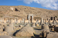 Ancient columns in Persepolis city Royalty Free Stock Image