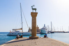 Ancient columns in port of Rhodes. Greece Stock Photo