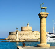 Ancient columns of Rhodes. Ancient columns in port of Rhodes. Greece Stock Photography
