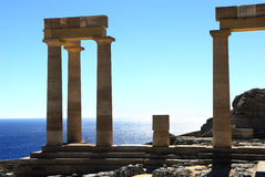 Ancient columns of Rhodes. Ancient columns in acropolis of Lindos city. Rhodes. Greece Stock Photo