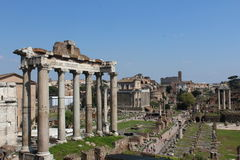 Ancient columns in roman forum in rome Royalty Free Stock Image