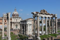 Ancient columns in roman forum in rome Royalty Free Stock Photos