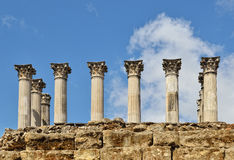 Ancient columns of the Roman temple in Cordoba Royalty Free Stock Photos