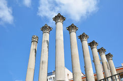 Ancient columns of the Roman temple in Cordoba Stock Photography