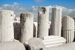 Ancient columns in a row. Izmir, Turkey Royalty Free Stock Image