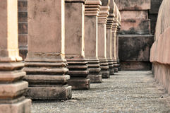 Ancient columns of ruined building in Thailand Royalty Free Stock Images