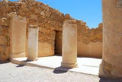 Ancient columns. Ruins of ancient temple. Masada, Israel Royalty Free Stock Photo