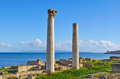 Ancient columns. In Tharros, Sardinia Royalty Free Stock Image