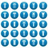 Ancient columns vector icons set blue, simple style. Ancient columns icons set blue. Simple illustration of 25 ancient columns vector icons for web Stock Photos