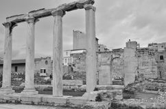 Ancient Columns. A view of the ruins of Hadrians library in the city of Athens Stock Image