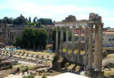 The ancient colums at the palatine hill and roman forum stock image
