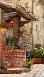 Ancient construction decorated with flowers Royalty Free Stock Photos