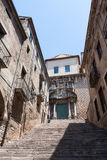 Ancient construction in Girona old town of Spain Stock Photography