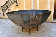 Huge Ancient cooking vessel Stock Image