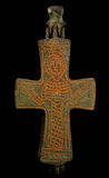 Ancient copper Byzantine cross in brown patina Royalty Free Stock Image