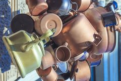 Ancient copper kettles and pans. Close up Stock Image