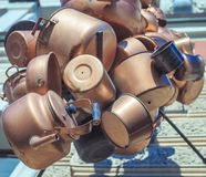 Ancient copper kettles and pans. Close up Stock Photo