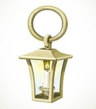 Ancient copper lantern with a candle inside Royalty Free Stock Photo