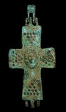 Ancient copper reliquary cross isolated on black Stock Image