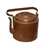 The ancient copper teapot. Is isolated on a white background Royalty Free Stock Images