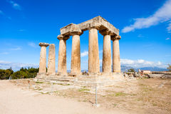 Ancient Corinth in Greece. Temple of Apollo in Ancient Corinth, Peloponnese peninsula, Greece. Ancient Corinth was one of the largest and most important cities Stock Photo