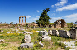 Ancient Corinth, Peloponnese, Greece. Corinth, or Korinth (Greek: Κόρινθος, Kórinthos) was a city-state (polis) on the Isthmus of stock photos