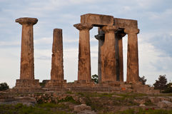 Ancient corinth- temple of apollo Royalty Free Stock Photos