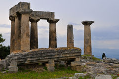 Ancient corinth- temple of apollo Royalty Free Stock Image