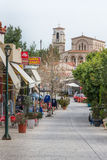 ANCIENT CORINTHE, GREECE - FEBRUARY 17, 2016: Overview main street Stock Image