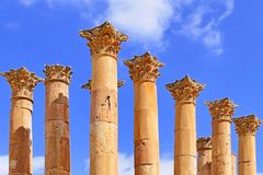 Ancient Corinthian Columns at Temple of Artemis in Jerash, Jordan Royalty Free Stock Image