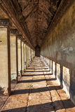 Ancient corridor at Angkor Wat Stock Image